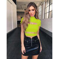 collants demi femmes achat en gros de-Femmes Sexy T-shirts D'été 2019 Nouvelle Designer Féminine Couleur Unie Mi-Haut Col Court Tops Femmes Sexy Creux Out Tight T-shirts