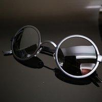 tapınak güneş gözlüğü toptan satış-Siyah Yuvarlak Erkek Kadın Polarize Güneş Gözlüğü Güneş Gözlüğü Retro Geniş tapınak Çerçeve
