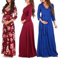 Wholesale pregnant women for sale - Group buy Women Floral Maternity Dress Colors Long Sleeve Maternity Pregnant Clothes Boutique Women Dresses Solid Lace V neck Women Dresses