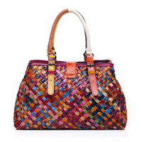 Wholesale womens luxury fashion purses resale online - Fashion Womens Tote Hand Knitted Top Handle Purse Genuine Leather Designer Luxury Handbag Shoulder Bag