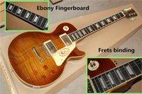 эбеновое гитарное переплетение оптовых-Ebony Накладка и ладов Переплет Электрогитара с фиксированным бриджем, Flame Maple Шпон, могут быть настроены