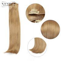 extensões de cabelo neitsi venda por atacado-Neitsi 14 '' 3 Pçs / set 75g Clip in Extensões de Cabelo Sintético Em Linha Reta Perucas Ouro Loira 536 #