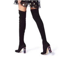 Wholesale knee high boots diamonds resale online - fashion woman leather diamonds chunky heel over knee thigh high boots black pink woman crystal chunky heel thigh high boots