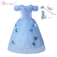 Wholesale princess cinderella costumes for sale - Pettigirl Cinderella Princess Costume For Girl Cosplay Birthday Pageant Dress With Butterflies Carnival Halloween Costume G MBGD0010