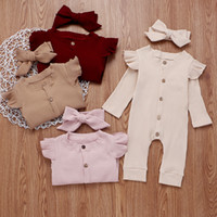 Wholesale pink baby romper for sale - Group buy 2019 explosion models autumn and winter bow headdress striped female baby solid color round neck long sleeved button conjoined hafu romper