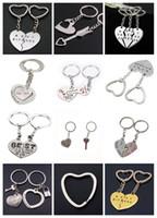 beste liebhaber keychain großhandel-Herz-Schlüsselring-Liebhaber-Schlüsselkette 1 Paar-Valentinstag-Geschenk-Art- und Weisesilber- / Goldfarben-beste Freunde Keychain