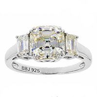Moissanite Centre Stone 8*8mm Asscher Cut 2 Emerald Cut Side Stones Solid 18K White Gold Ring
