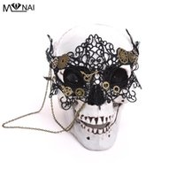 eva räder groihandel-Weinlese Steampunk Zahnrad-Taktgeber-Rad-Maske Handmade Gothic Victorian Lace Mask Lolita Retro Zubehör Cosplay Halloween-Party Scary Props