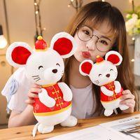 ratón kawaii al por mayor-niños y regalo de Navidad Año de la rata de Kawaii de China felpa juguetes animales de peluche mouse suaves de los juguetes chinos Fiesta de Año Nuevo de la rata mascota del vestido de la decoración de juguetes
