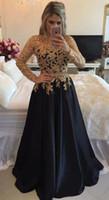 robes de soirée en or vintage achat en gros de-Vintage noir et or dentelle Pageant Prom robes 2019 avec longue illusion manches perles perles Sequin Celebrity robe de soirée