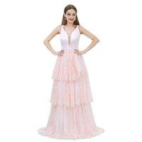 Wholesale prom dresses shops resale online - MB004 Deep V neck Satin and Lace Elegant A line Prom Dress Shops Near Me Layered Skirt Pink Prom Dress robe de soiree