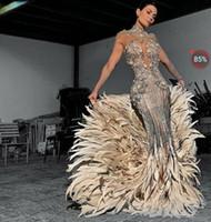 cristais de murmuração de zuhair venda por atacado-Vestido de noite Yousef aljasmi Kim kardashian Sereia Alta pescoço Feather Silver Beads Long vestido Cristais Zuhair murad Ziadnakad 0011