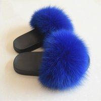 erkek ayakkabıları terlik kış toptan satış-Gerçek Tilki Saç Terlik Kadın Kürk Ev Kabarık Kaydırıcılar Kış Peluş Kürklü Yaz Flats Tatlı Bayan Ayakkabı Büyük Boy 45 Pantufas