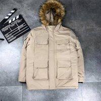 jaqueta de luxo de peles para baixo mulheres venda por atacado-Mens Designer Jacket casaco de pele com capuz Windbreaker Grosso parkas para baixo morna para Homens Mulheres Marca Brasão Jacket Zipper Luxo Ganso Tops