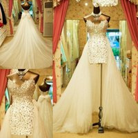 Wholesale custom made wedding dress silver resale online - Sweetheart Beaded Crystals Sequined High Low Wedding Dresses Sexy Column Short Bridal Dress Detachable Train Lace up Bow Back Wedding gowns