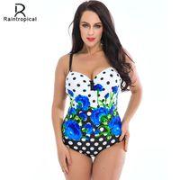 082f1a00d1 2019 New One Piece Swimsuit Women Retro Vintage Bathing Suits Plus Size  Swimwear Beach Padded Print Colorful Polka Swim Wear 5xl Y19051801