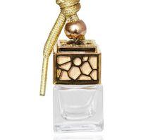 ambientador venda por atacado-Garrafa de perfume Cubo Carro Pendurado Ornamento Perfume Ambientador Óleos Essenciais Difusor Fragrância Garrafa de Vidro Vazio 5 ml GGA1480