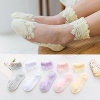 novas meias de design venda por atacado-Miúdos designer de meias 2019 meninas verão novo design ultra-fino princesa dança meias meias baby fina meia de tornozelo de cristal 5 cores