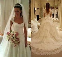Wholesale dress big belt resale online - Wedding Fashion Newest A Line Wedding Dresses Lace Cap Sleeve Tier Ruffle Sweep Train With Big Bow Belt Long Backless Bridal Gowns BC1756