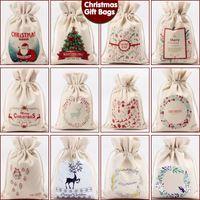 hediye çantası baskısı toptan satış-Noel Çanta İpli Hediye Çanta Kanvas Çanta Büyük Şeker Saklama Torbaları Ren Geyikleri Baskı Organizatör Çanta Santa Çuval Kese Kid Için DBC VT0732