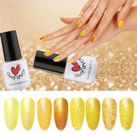esmalte de uñas amarillo al por mayor-8 Colores 7ML Serie Glitter Amarillo Nail Art Polish DIY Gel Uñas Barnices Gel Laca Manicura Herramienta Diseño Decoraciones