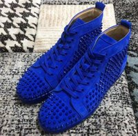 Wholesale c2 gifts resale online - Prefer Gift Spikes High Top Red Bottom Studded Sneakers Shoes Women Men Designer Flat Casual Party Wedding Dress shoes Walking Shoe C2