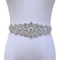 venda de cristal de noiva venda por atacado-Nupcial casamento Handmade frisada de cristal Sash Novos 2019 Cintos de luxo de noiva de cetim cintos de casamento venda quente