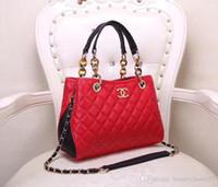 Wholesale tote bag materials resale online - high quality cm Women Bag Vintage Handbag Casual Tote Fashion Women Messenger Bags Shoulder Top Handle Purse Wallet Cowhide material