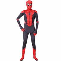 terno preto do homem-aranha dos miúdos venda por atacado-Spider man cosplay trajes de halloween para menino da menina dos homens preto superhero atacado de alta qualidade crianças adulto spiderman regresso a casa ternos