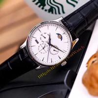ultra dünne mechanische uhren großhandel-Marke Hot Master Ultra Thin 130842J Tag / Datum Mondphase Ewiger Kalender Automatische Mechanische Herrenuhr Stahlgehäuse Lederband Uhren
