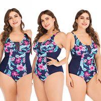 biquíni 4xl venda por atacado-Bikini Mulheres Push Up acolchoado Plus Size Bikini Mulheres Swimsuit Balneares alta Floral cintura Imprimir Swimwear Bikini Set Plus Size M-4XL