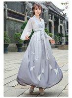 ulusal çince toptan satış-Çin ulusal rüzgar iyileştirme Hanfu kadın işlemeli dokuz noktalı kol şifon gömlek ile göğüs ve iki bir etek giymiş