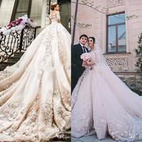 Wholesale michael cinco resale online - 2018 Luxurious Lace Appliques Michael Cinco Castle Church Wedding Dresses A Line D Floral Adorned Beaded Cathedral Train Bridal Gowns