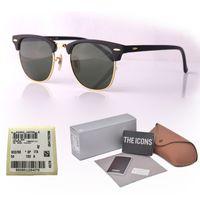brand sonnenbrille katze großhandel-Markendesigner Mens Womens Sunglasses Plank Frame Metall Scharnier Glaslinse Cat Eye Sonnenbrille uv400 Goggle mit Retail Fällen und Etikett