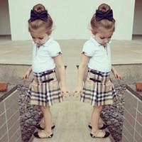 ingrosso tutu top per i bambini-Vendita calda Ragazze T Shirt + Plaid Skirt Set Baby Cotton Wear Camicie per bambini Top Set di abbigliamento Bambini Abiti per bambini Stile classico Alta qualità