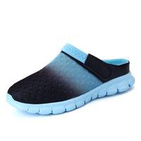 муле засовывают тапочки оптовых-Горячая распродажа- 5 цветов новые мужские повседневные сандалии тапочки с отверстиями пара сандалий мулов и сабо садовая обувь для мужчин дышащая пляжная обувь 927