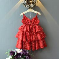 sevimli şifon elbisesi bebek toptan satış-Yaz kızlar askı elbise kalp noktalar baskılı sevimli bebek kız kek katmanlı şifon etekler çocuk butikler giyim