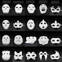 máscara crianças diy venda por atacado-Máscara de papel DIY partido máscara branca Pintura Chirstmas Halloween Party Crianças DIY criativo Máscaras Pintura Kindergarten Máscara