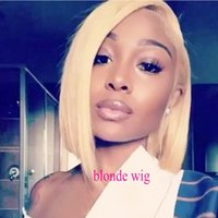 Wholesale blue wig high quality for sale - Group buy High Quality Natural Hairline inch Blonde Short Bob Wigs Glueless Synthetic Lace Front Wigs Heat Resistant Women Cosplay Wig Density
