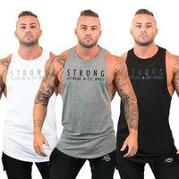 y weste großhandel-Herren Bodybuilding Stringer Tanktops Y-Back Gym Workout Sport Weste Shirt Kleidung