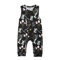 ingrosso giacche per neonati-Completo stampa fiori bambino Romper INS Newborn Gilet smanicato estivo tuta Tutina kids girl boy per 0-2T