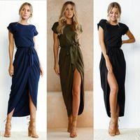 longues robes de soleil décontractées achat en gros de-Manches courtes Plage Sexy Wrap Dress Femmes Maxi Dress Eté 2019 Lâche Casual Dress Pour Femme Plus Taille Long Soleil Robe Femme
