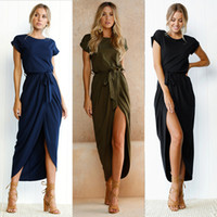 cfe40df4c7b Wholesale maxi shorts for sale - Short Sleeve Beach Sexy Wrap Dress Women  Maxi Dress Summer