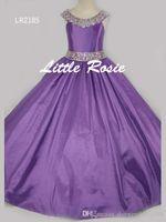 chicas bonitas vestidos talla 12 al por mayor-Bastante rosado, púrpura, rojo, cuentas de tafetán, vestidos de flores para niña Vestidos de princesa Vestidos para niñas Vestidos a medida Tamaño 2-6 8 10 12 14