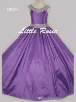 pembe tafta elbisesi çiçek toptan satış-Pretty Pembe Mor Kırmızı Tafta Boncuk Çiçek Kız Elbise Prenses Elbiseler kızın Pageant elbise Custom Made Boyutu 2-6 8 10 12 14