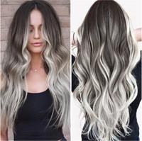 Art Und Weise Grauen Farbverlauf Lange Locken Große Welle Lockige Haare Hochtemperaturfaser Chemiefaser Perücken Stiegen Lace Haarnetz
