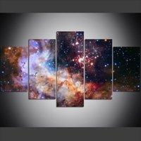 yağlı boya alanı toptan satış-5 Parça Büyük Boy Tuval Duvar Sanatı Resimleri Yaratıcı Psychedelic Bulutsusu Uzay Yıldız Sanat Baskı Yağlıboya Oturma Odası için
