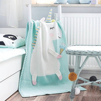 Wholesale newborn knitted blankets resale online - Cartoon Animal Baby Blankets Cute Newborn Swaddle Wrap Sofa Bed Plane Soft Knitted Wool Thread Blanket Gifts TTA853