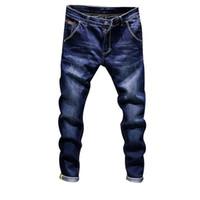 jeans azul oscuro macho al por mayor-Laamei Fashion Skinny Jeans Para Hombre Recta Azul Oscuro 2018 Nuevo Impreso Mens Casual Biker Denim Jean Hombre Pantalones de Pantalones Elásticos
