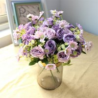 Wholesale blue plastic wedding flowers for sale - Group buy Fake Daisy Rose Bunch quot Length Simulation Roses with Plastic Babysbreath for Home Decorative Artificial Flowers